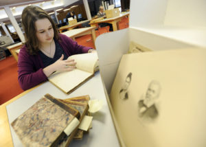 University of Michigan freshman researching George Pray journals at the Bentley Historical Library. Photo by Lon Horwedel