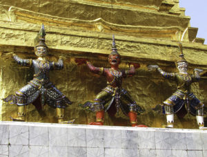 Ashline Hermiz found these colorful statues of yakshas, a type of nature-spirit in Thai Buddhism, at a temple in Bangkok.
