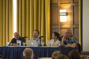From left, Randy Bass of Georgetown, Richard Kiely of Cornell, Brooke Pulitzer of Harvard, and James Holloway of U-M share thoughts about next steps for engaged learning. (Photo by Steve McKenzie CRLT-Engineering)