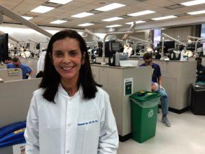 Elisabeta Karl poses in the lab.