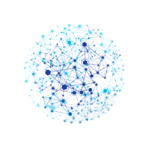 Circle of light blue and dark blue connected nodes