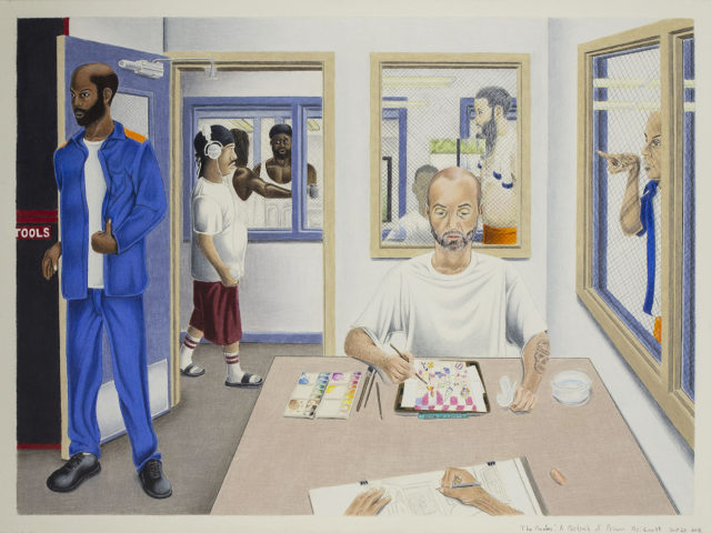 A painting of several men in and around a room. One sits and paints a picture, another across from him sketches. One stands in the doorway, one walks past wearing headphones. One stands in the window pointing into the room.