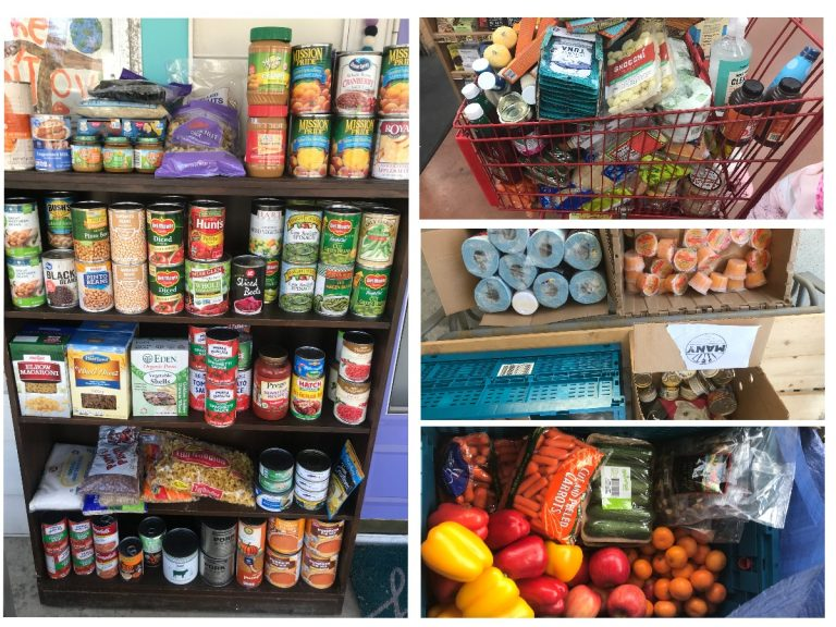 (A collage of photographs: one of shelves with various canned food; one of a shopping cart full of food; one of boxes with paper towel and canned food; and one of fresh fruits and vegetables in a bag.)