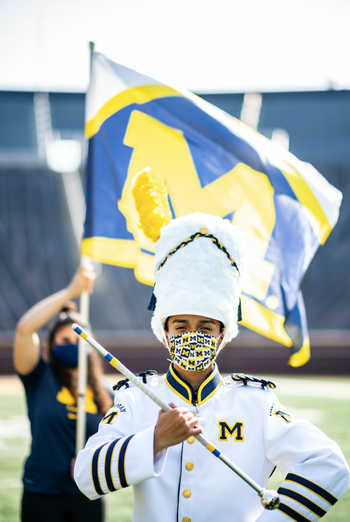 Walter Aguilar is the 56th drum major of the Michigan Marching Band. Photo by Eric Bronson/Michigan Photography.