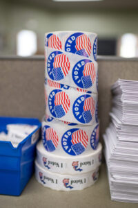 "Stack of ""I voted"" stickers"